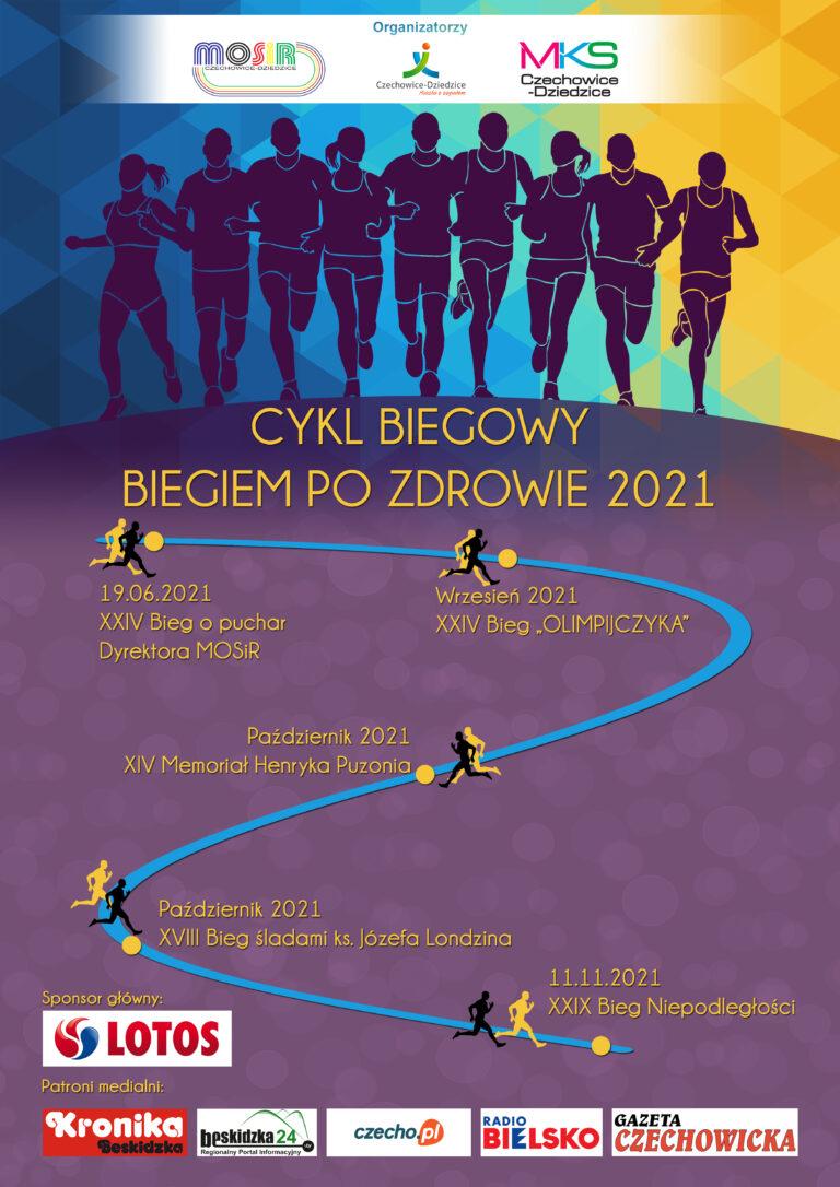Plakat Cyklu Biegowego- Biegiem po zdrowie 2021